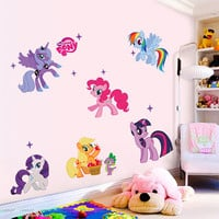 Back to school decoration My little pony wall art fathead style set of 6 removable sticker girl princess room decor