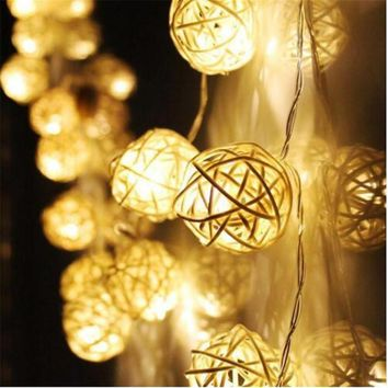.Rattan Balls String Light Fairy Lanterns Wedding Outdoor Decor