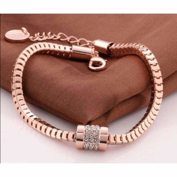 18K Rose Gold Plated Crystal Rhinestone Snake Box Chain Bracelet Bangle Jewelry