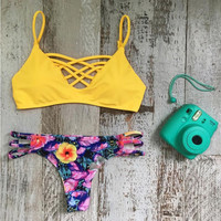 Yellow Swimwear Swimsuit Beach Bathing Suit Floral Print Triangle Bikini Set