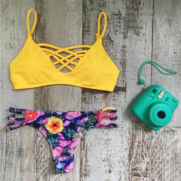 Yellow Floral Print Triangle Bikini Set Beach Bathing Suit Swimwear Swimsuit