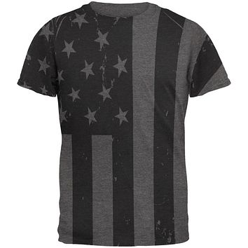 July 4th Black And White American Flag Mens Soft T Shirt