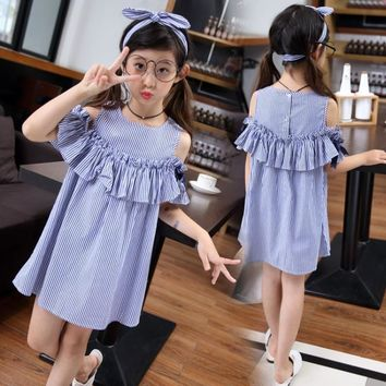 summer 4-14 years old Girl striped Dress Baby off shoulder dresses Kids girls Dress child clothing children clothes +head band
