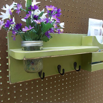 Mail Holder/Flower Shelf/Wall Decor/Entryway Decor/Coat hook Shelf/Mason jar Vase