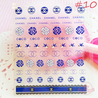 Logo lace Flower Rose Swallows Self Adhesive Colorful Nail Art Stickers Transfer Decals Designer -  N2-10