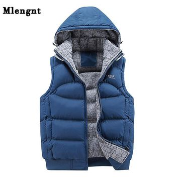 Fashion Sleeveless Jacket Men Thickening 100% Cotton Vest Hat Hooded Warm Vest Winter Waistcoat Men Casual Windbreaker