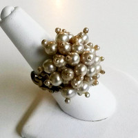 OOAK RePurposed Pearl Beaded Cluster Adjustable Ring Upcycled Statement
