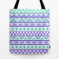 Tribal Pattern mint Green Purple Tote Bag by Tjc555