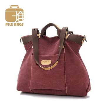 Big Ladies Hand Bags High Quality Designer Women Handbags Solid Hobos Tote Bag Fashion Ruched Canvas Shoulder Messenger Tote Bag