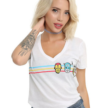 Marvel Avengers Faces Stripe Girls T-Shirt