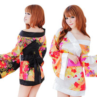 2016 Hot Sale Cherry Blossoms Kimono Sexy Lingerie Suit Role-playing Game Temptation Uniform Good-looking MA 24