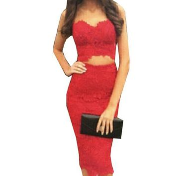 HOT LACE SHOW BODY TWO PIECE DRESS