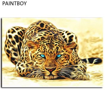 frameless leopard animals pictures painting by numbers diy canvas oil painting home decoration for living room 40 50cm gx4175