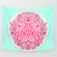 Spring Arrangement - floral doodle in pink & mint Wall Tapestry by Micklyn