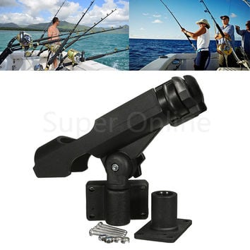 Boat Assault Boats Kayaking Yacht Fishing Tackle 360 Rotatable Fishing Support Rod Holder Bracket With Screws Accessory Tool