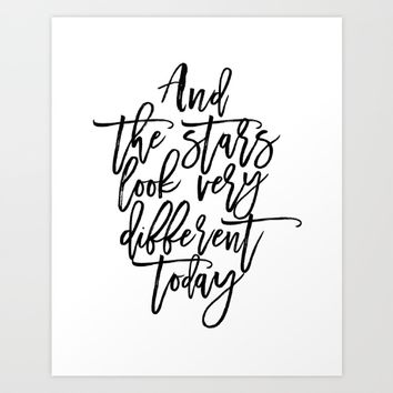 Bowie Song Lyrics,And The Stars Looks Very Different Today,Girls Room Decor,Printable Aleks Art Print by Printable Aleks