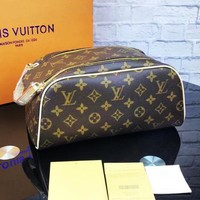LV Louis Vuitton Retro Women Makeup Bag Cosmetic Bag Double Zipper Satchel