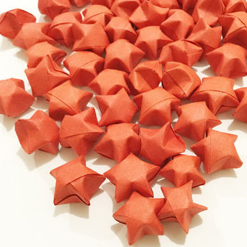 Origami Lucky Stars | Plain Rose Red Wishing Star | Paper Stars | Craft Party Supplies | Wedding Thanksgiving Christmas Decoration Confetti