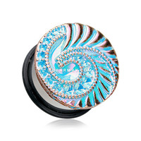 A Pair of The Iridescent Nautilus Dazzle Ear Gauge Plug