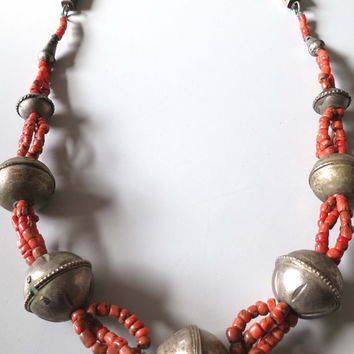 Vintage original strung Morocco Berber real antique coral bead and large silver ball beads necklace