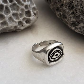 Mens silver evil eye signet ring, square evil eye protection pinky ring, antique silver adjustable unisex ring, gift for him, father's gift