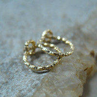 Hoop Earrings Gold Faceted
