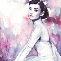 """Audrey Hepburn Pretty Watercolor"" - Art Print by Olga Shvartsur"