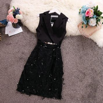 HISUMA summer new women's Notched sleeveless stitching lace Sequined shiny sheath dress female elegant waist belt bling dresses