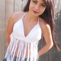 White Fringe Top #J1014