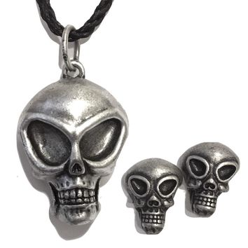 Alien Skull UFO Extraterrestrial Unisex Pendant Necklace with FREE Alien Earrings