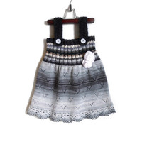 Knitted Girl Tunic Dress - Black and White, 4 - 5 years