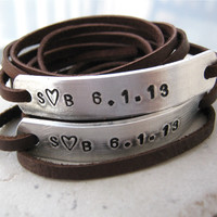 Couples Anniversary Leather Wrap Bracelets - Set of 2