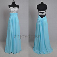 Crystals Long Blue Crystals Bridemaid Dresses 2014 Prom Dress Elegant Evening Gown Boutique Wedding Party Dress Long Party Dress Dress Party