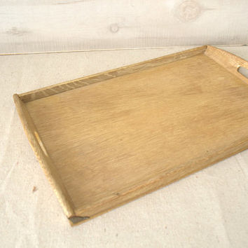 Mid Century Bamboo Serving Tray,  Small Rectangular Serving Tray with Handles, Wood Vanity Tray