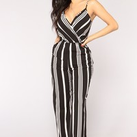 Love The Rush Stripe Jumpsuit - Black/White