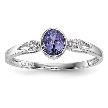 14k White Gold Oval Bezel Set Tanzanite and Diamond Accent Ring