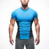 Slim Sports Stretch Short Sleeve Round-neck Jogging Hot Sale T-shirts [10657854019]