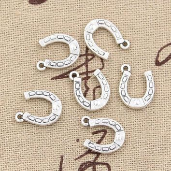 ONETOW 30pcs Charms lucky horseshoe horse 15*12mm Antique pendant fit,Vintage Tibetan Silver,DIY for bracelet necklace