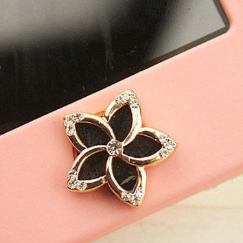 1 pcs  Bling Crystal Enamel Black Flower iPhone Home Button Sticker for iPhone 4,4s,4g, iPhone 5, iPad, Cell Phone Charm