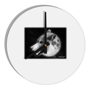 "TooLoud White Wolf Moon 8"" Round Wall Clock"