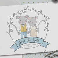 Save the Date Wedding Cards, Pack of 25, 5.5 x 4.25 In. (A2),Custom Names & Date,Animal Portrait, Mouse Illustrations,We're Getting Married!