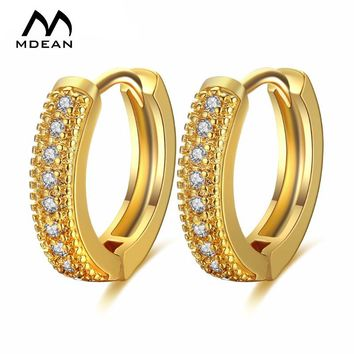 18K Gold Zircon Hoop Earrings