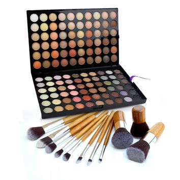 Eye Shadow Palette Camouflage Makeup Palette Kit + 11 Pro Bamboo Kabuki Brush Set
