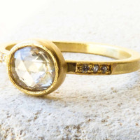 Rose Cut Diamond Engagement Ring  - Clear Pale Grey Diamond w/ 6 Imm Diamonds Set in 18k Recycled Gold