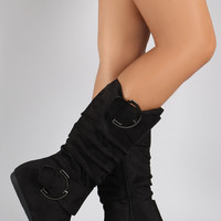 Faux Suede Slouchy Buckled Flat Boots