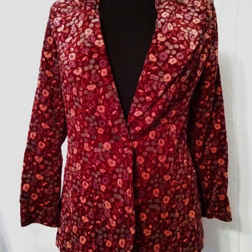 "SUMMER CLEARANCE SALE Great 70s Vintage Floral Velvet Mod Blazer Suit Jacket-Size 4-Small-36"" Bust-Hipster-Collector-Boho-High Fashion"