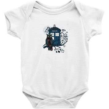 Owl And Tardis Baby Onesuit