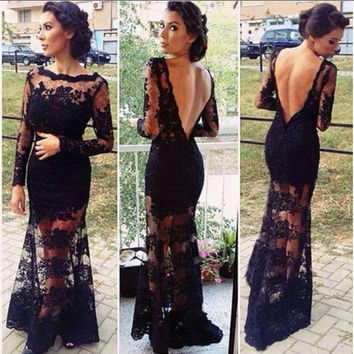 European Style Women Sexy Long Sleeve Backless Hollow Out Lace Dress Formal Evening Party Maxi Dress [9852960143]