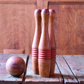 Vintage Wood Skittle Pins And Ball, Childrens Wooden Bowling Pins, Vintage Skittles Game