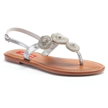 Unionbay Elsa Women's Embellished Thong Sandals (Grey)